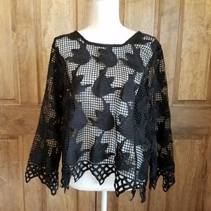 Chance or Fate Black Lace Look Shirt Size XL